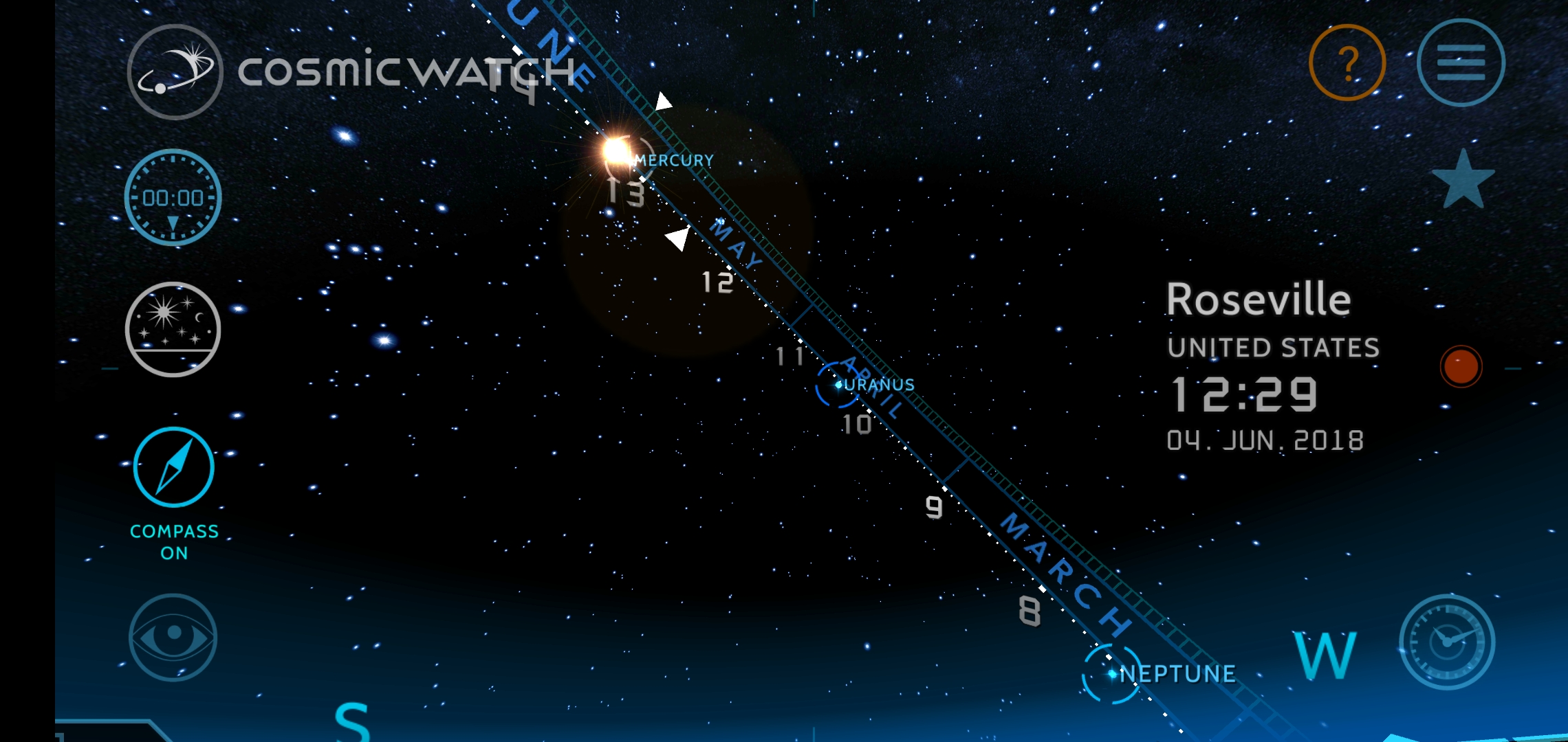 Cosmic Watch updated to v2 0 with real-time sky view, astronomical