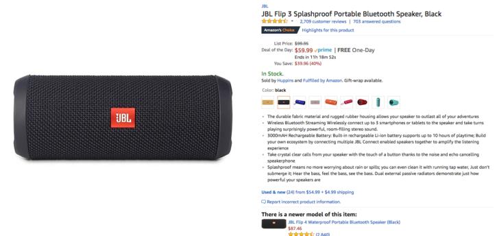 Deal Alert] JBL Flip 3 Bluetooth speaker down to $60 ($40