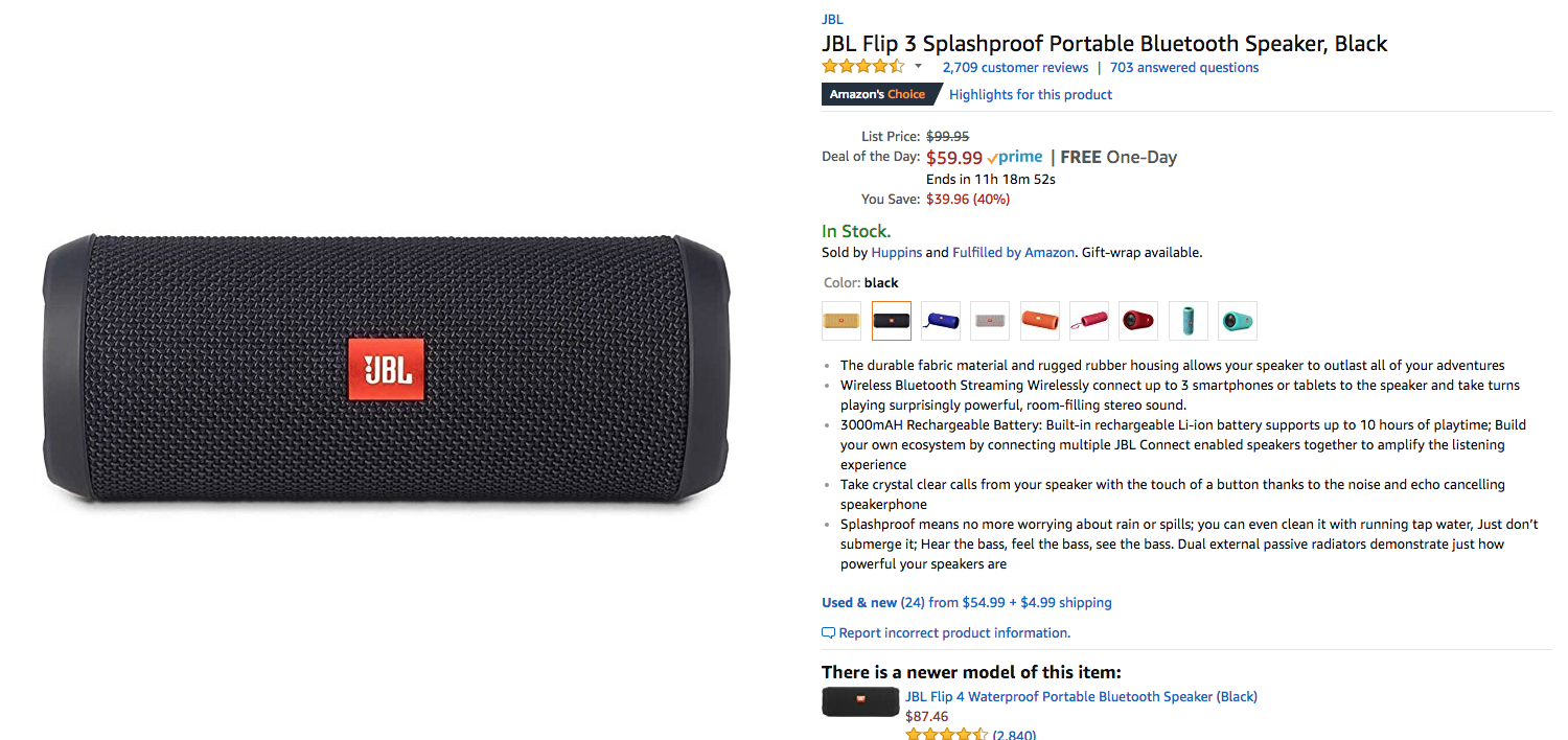 Deal Alert Jbl Flip 3 Bluetooth Speaker Down To 60 40 Off On Amazon For Today Only