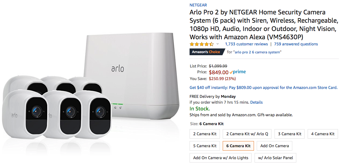 Deal Alert] Arlo Pro 2 6-pack drops to $849 ($251 off) on Amazon