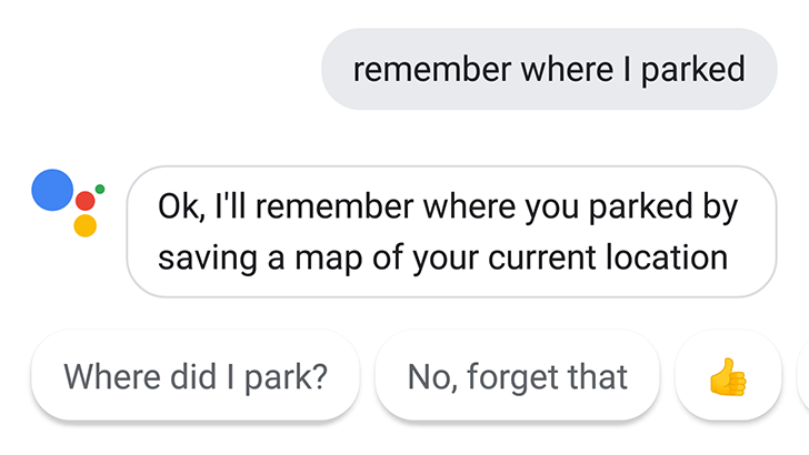 Tip: Tell Google Assistant where you parked and it will add a pin to Maps