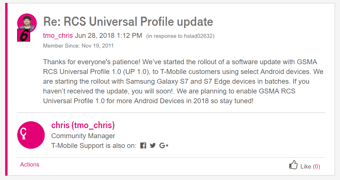 Update: More details] RCS Universal Profile rolling out on T-Mobile