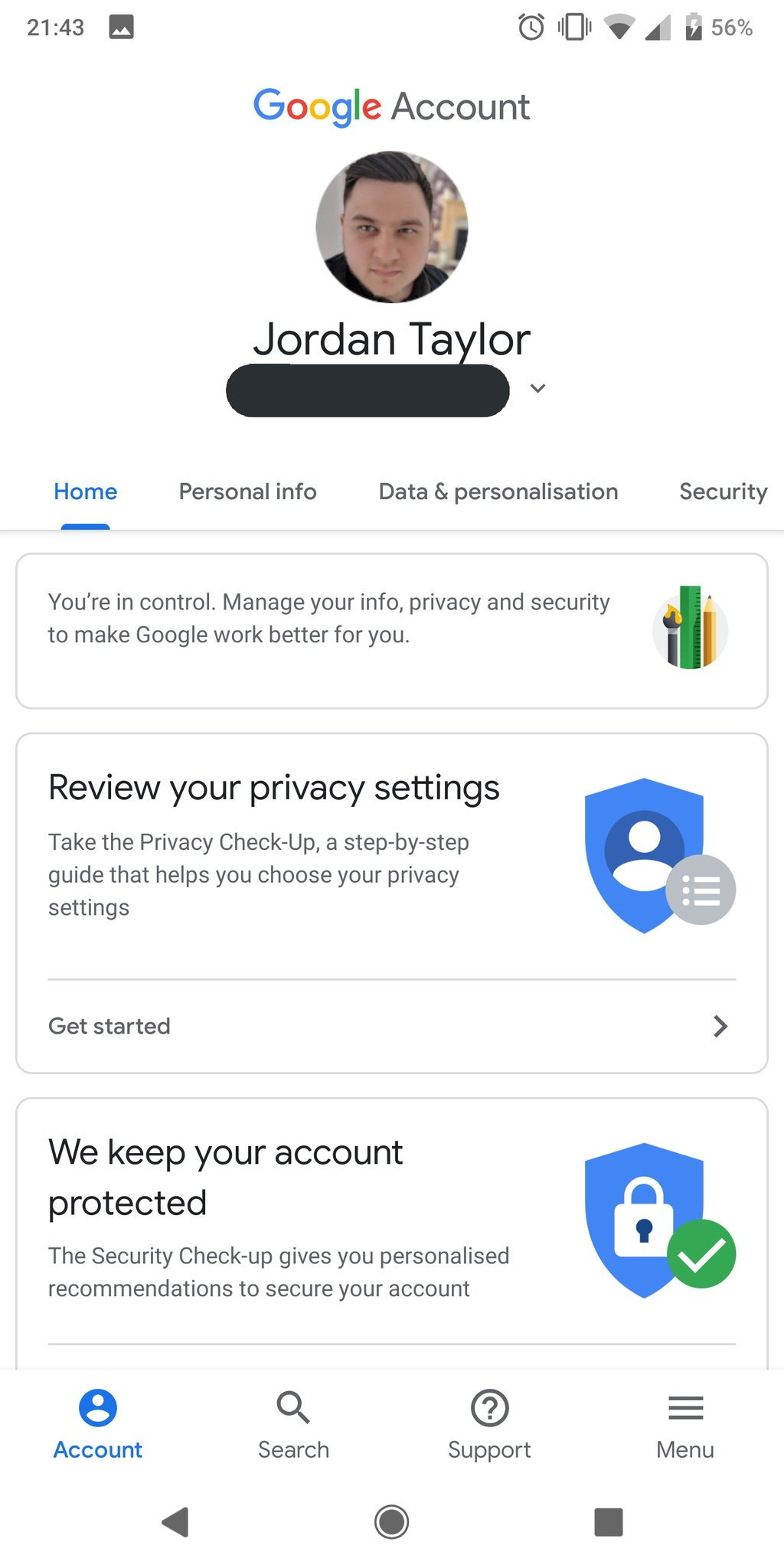 google account settings android