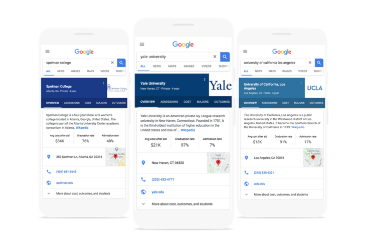 Google simplifies finding colleges w/ admission info, cost summary, & more in Search