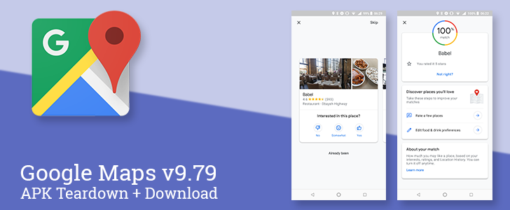 Google Maps v9 79 gives scores to restaurants based on your