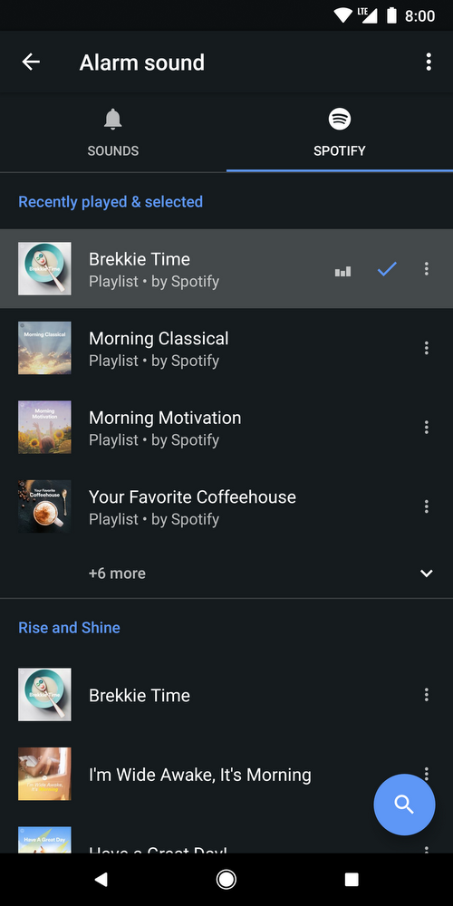 Update: Live, APK Download] Google Clock app now supports Spotify