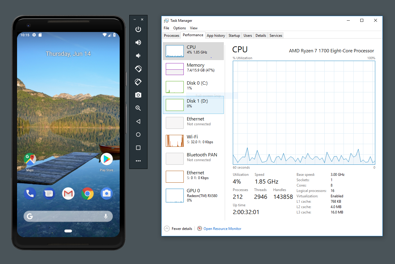 Android Studio device emulator now works with AMD processors and Hyper-V