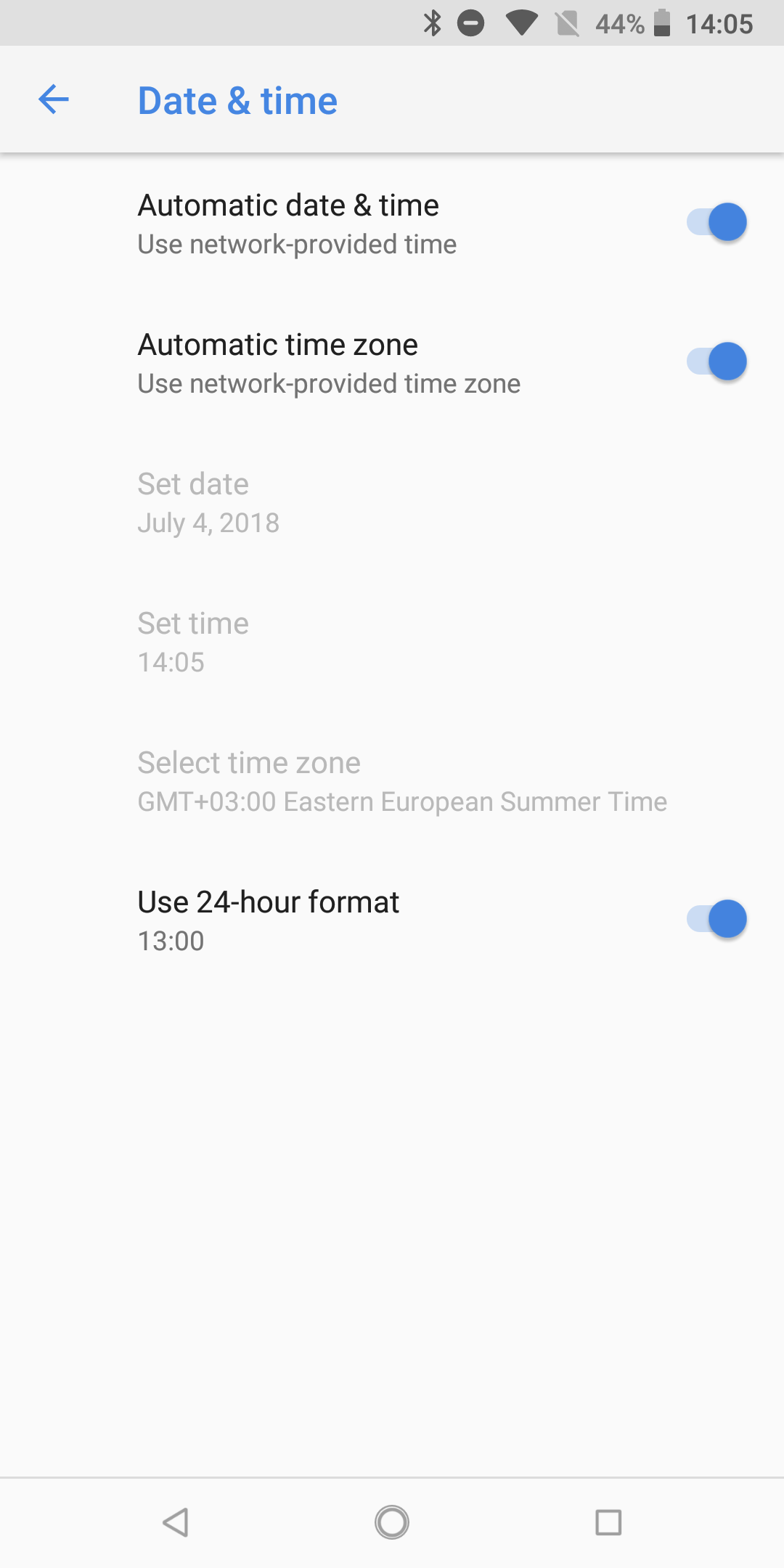 Android P adds automatic setting for 24-hour time format