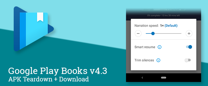 Google Play Books v4 3 adds Trim Silences option to the audiobook