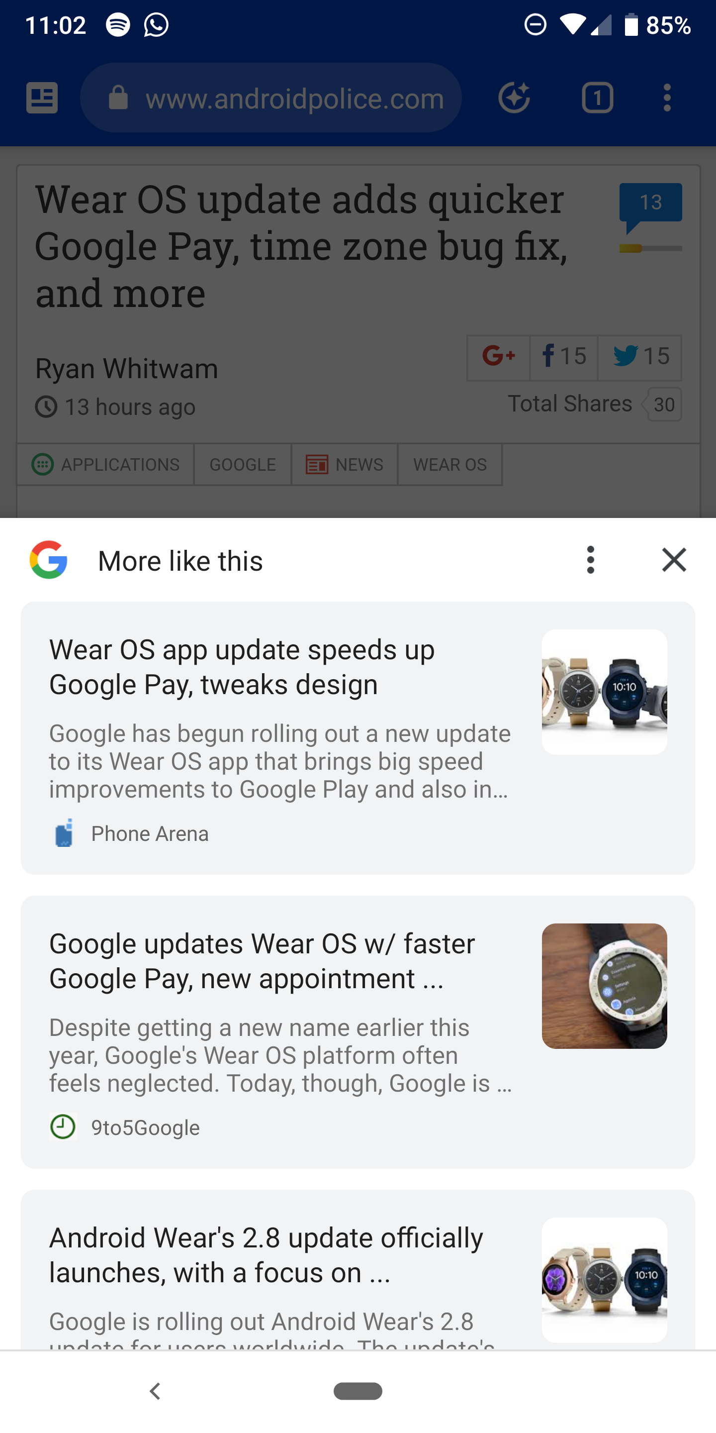 Google Chrome starts suggesting more articles like the one