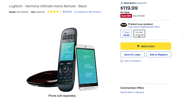 Deal Alert] Logitech Harmony Ultimate home remote is $119 99