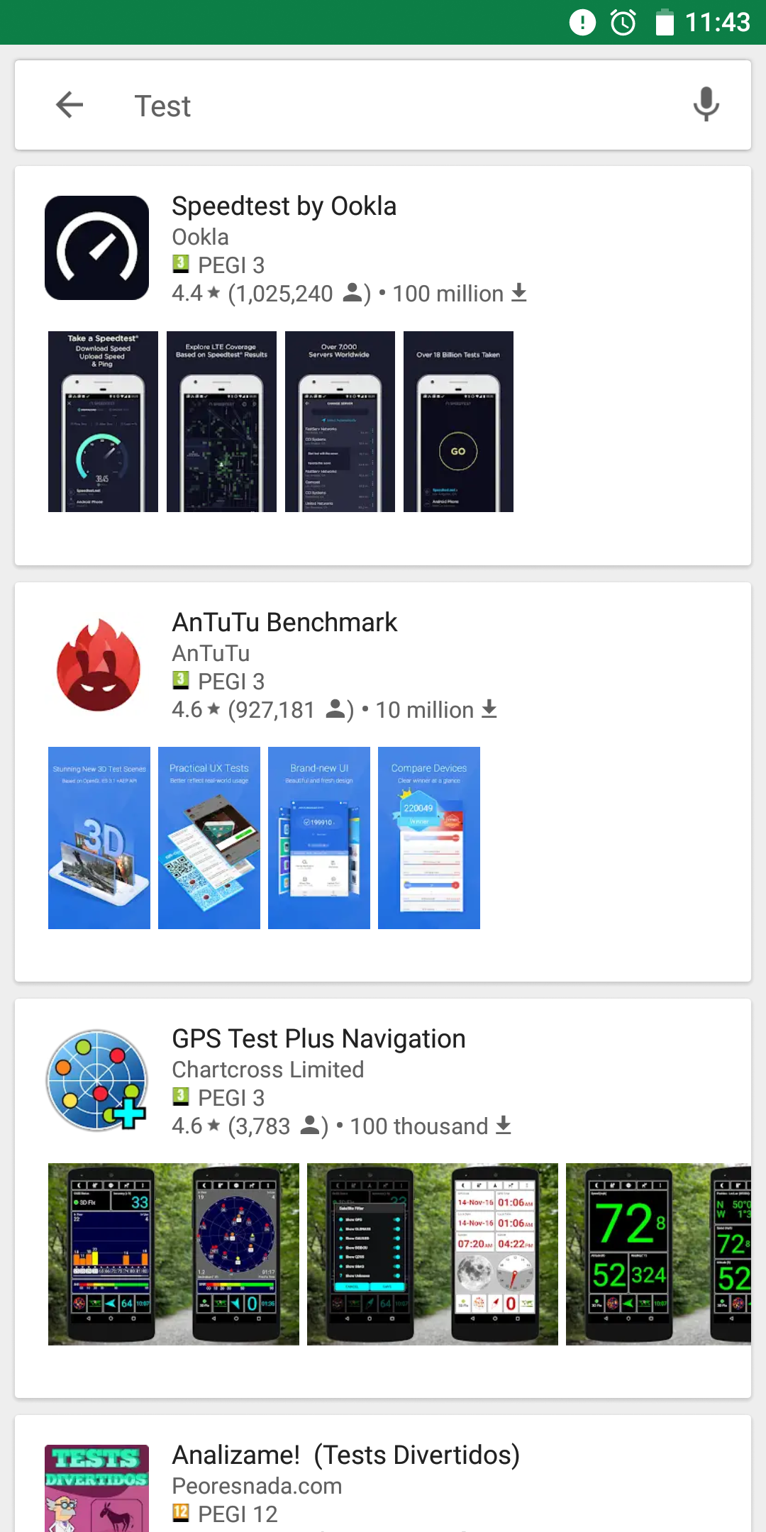 play store testing card style search results with screenshot thumbnails. Black Bedroom Furniture Sets. Home Design Ideas