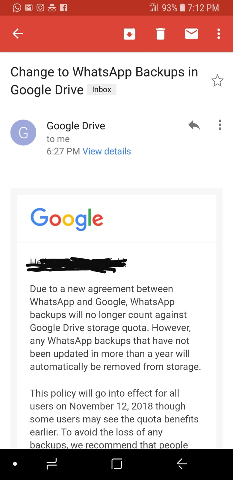 WhatsApp backups to stop counting against your Google Drive