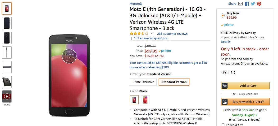 Deal Alert Moto E4 Down To 100 25 Off On Amazon