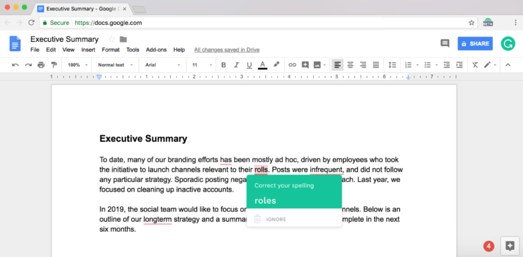 Grammarly for Chrome starts rolling out Google Docs beta support to