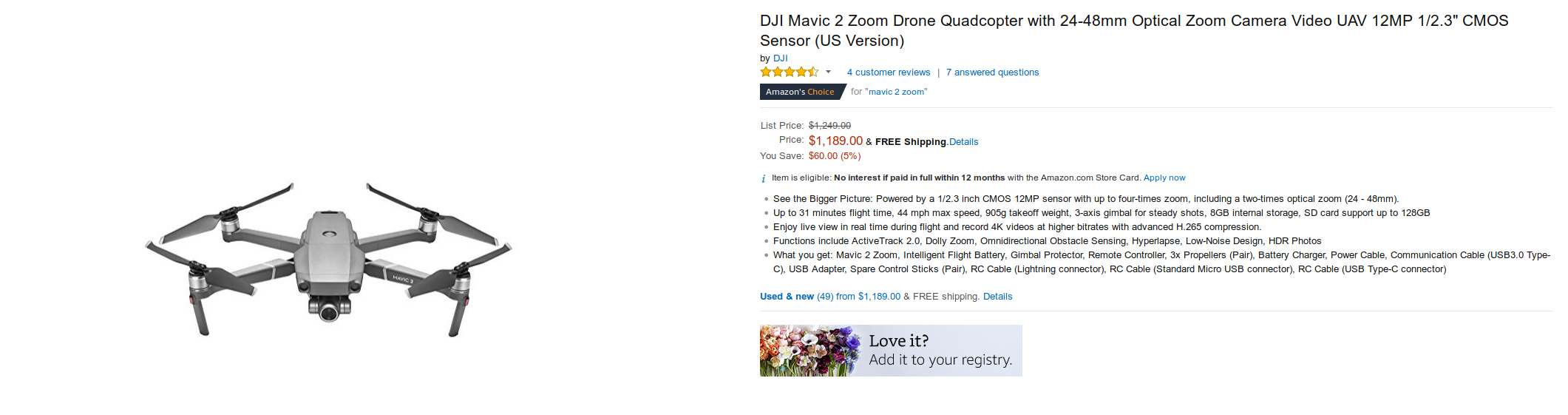 Deal Alert] Amazon has the DJI Mavic 2 Zoom for $1,189 ($60 off)