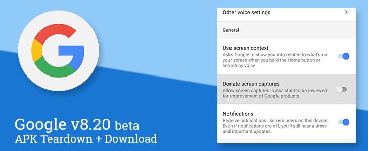 Google app v8 20 beta adds screenshot donation, renames Saved back