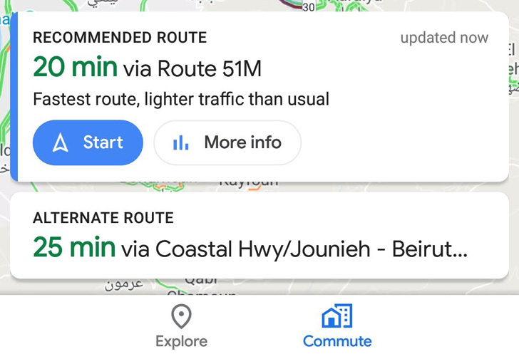 Google Maps is testing a combined Commute tab to replace ... on charlotte airport map usa, google maps florida usa, google maps nevada usa, mapquest driving directions maps usa, driving map of usa,