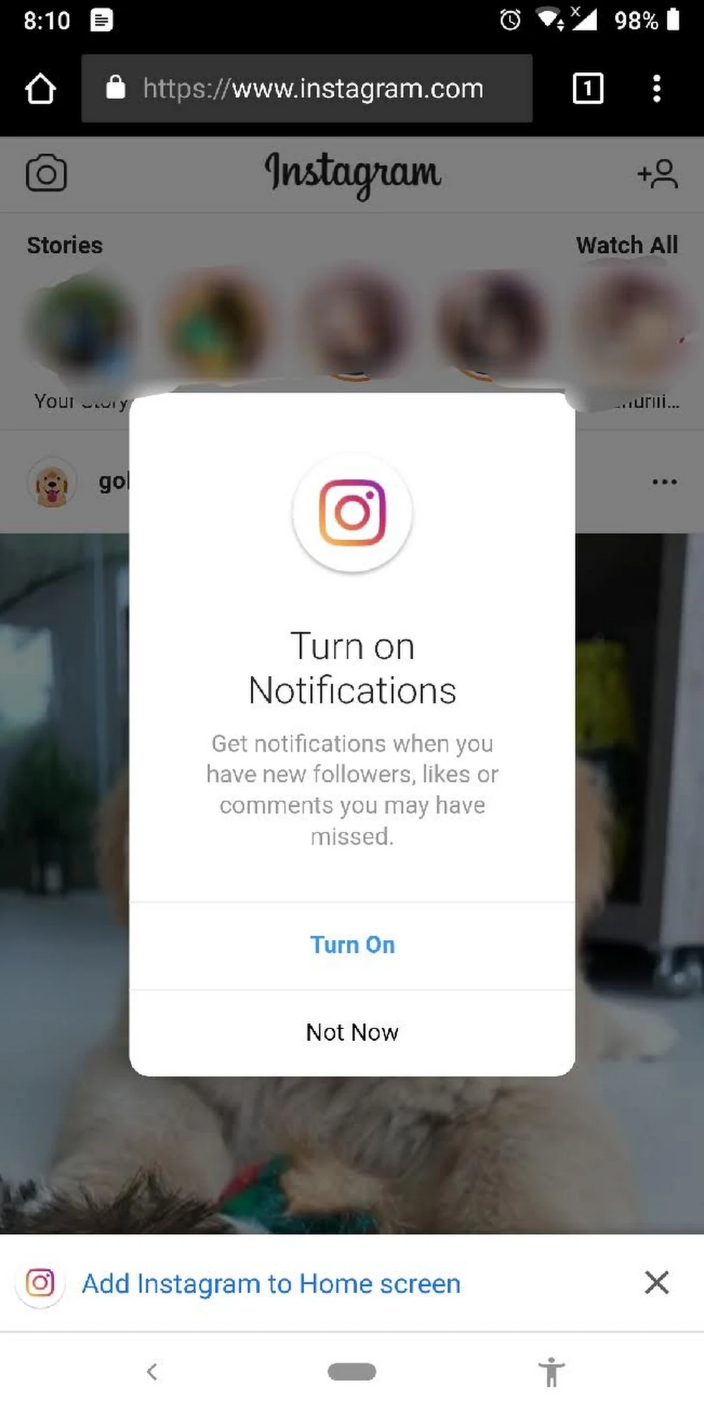 Instagram adds notifications to its browser app and