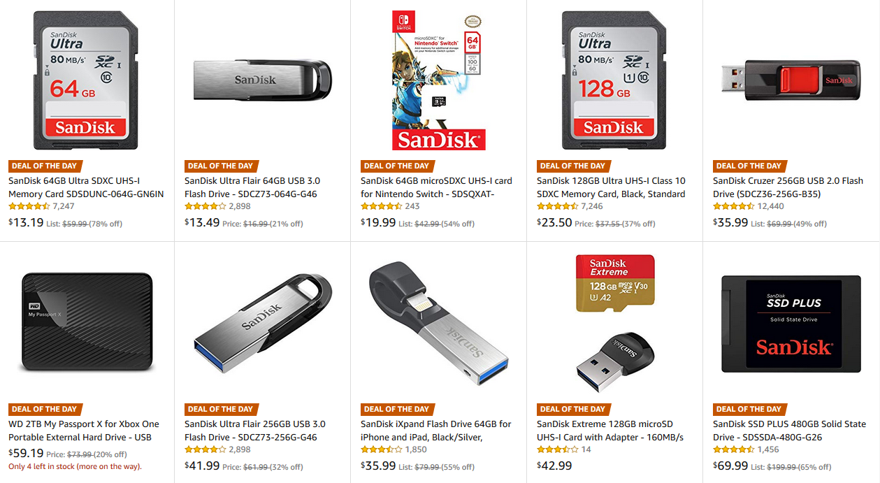Deal Alert Todays Amazon Gold Box Includes Sandisk Sd Cards Flash 2 Way Usb Switch If You Need More Storage For Your Phone Computer Nintendo Other Device Today Is Lucky Day Currently Has Over A Dozen Products