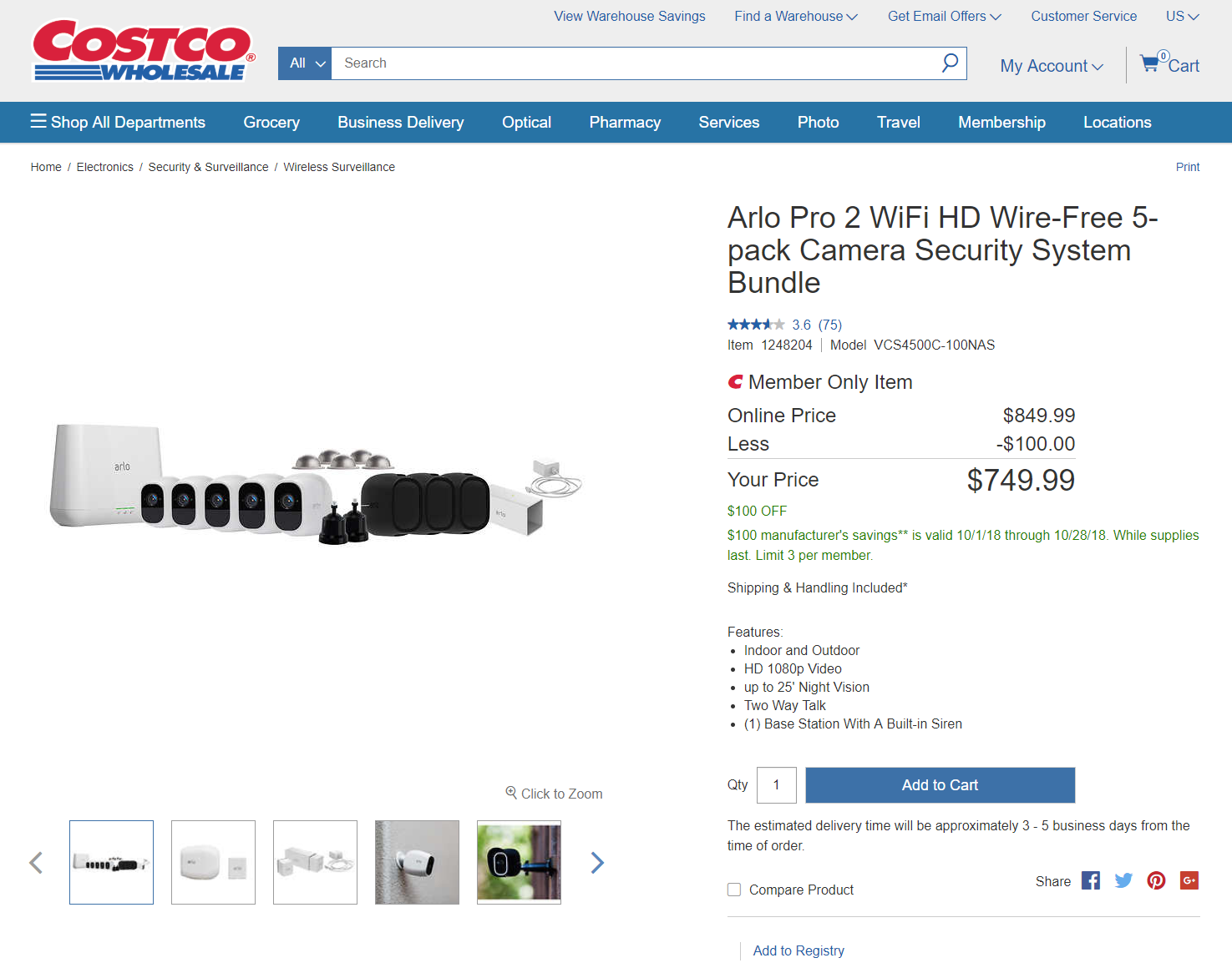 Deal Alert] Arlo Pro 2 bundle $750 at Costco ($100 off)