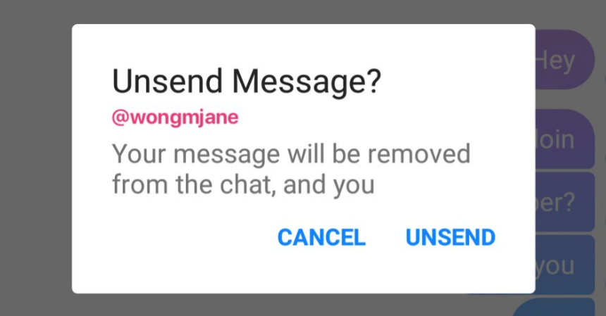 Facebook Is Testing An Unsend Feature For Messenger
