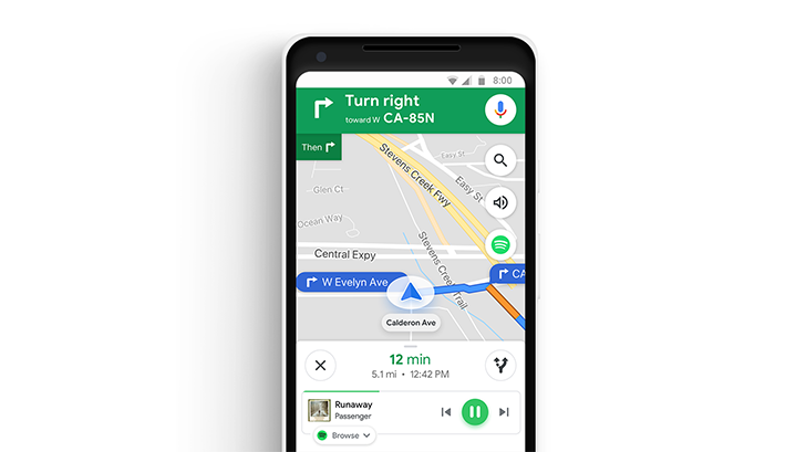 Google Maps adds Commute tab, in-app controls for Spotify