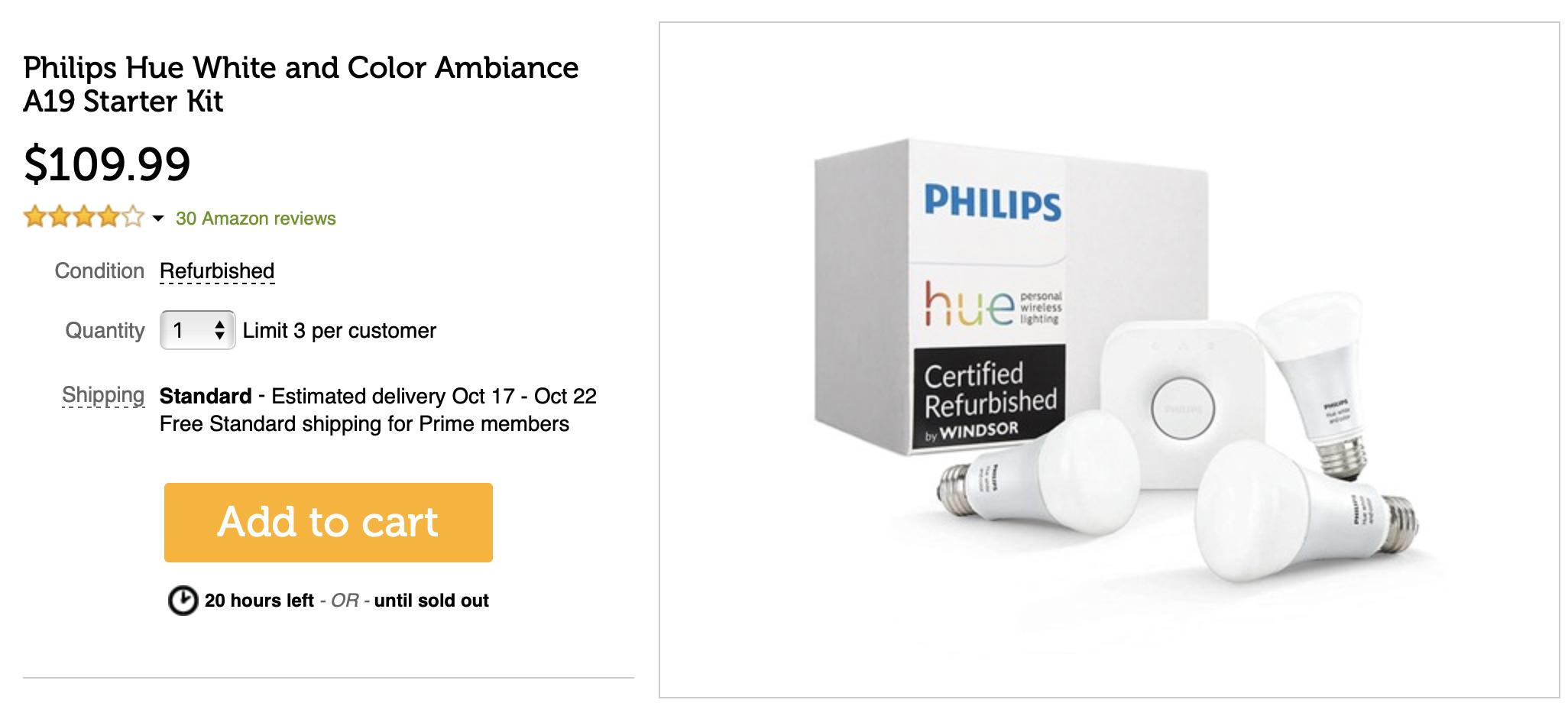 Deal Alert] Refurbished Philips Hue LED bulbs, LightStrip