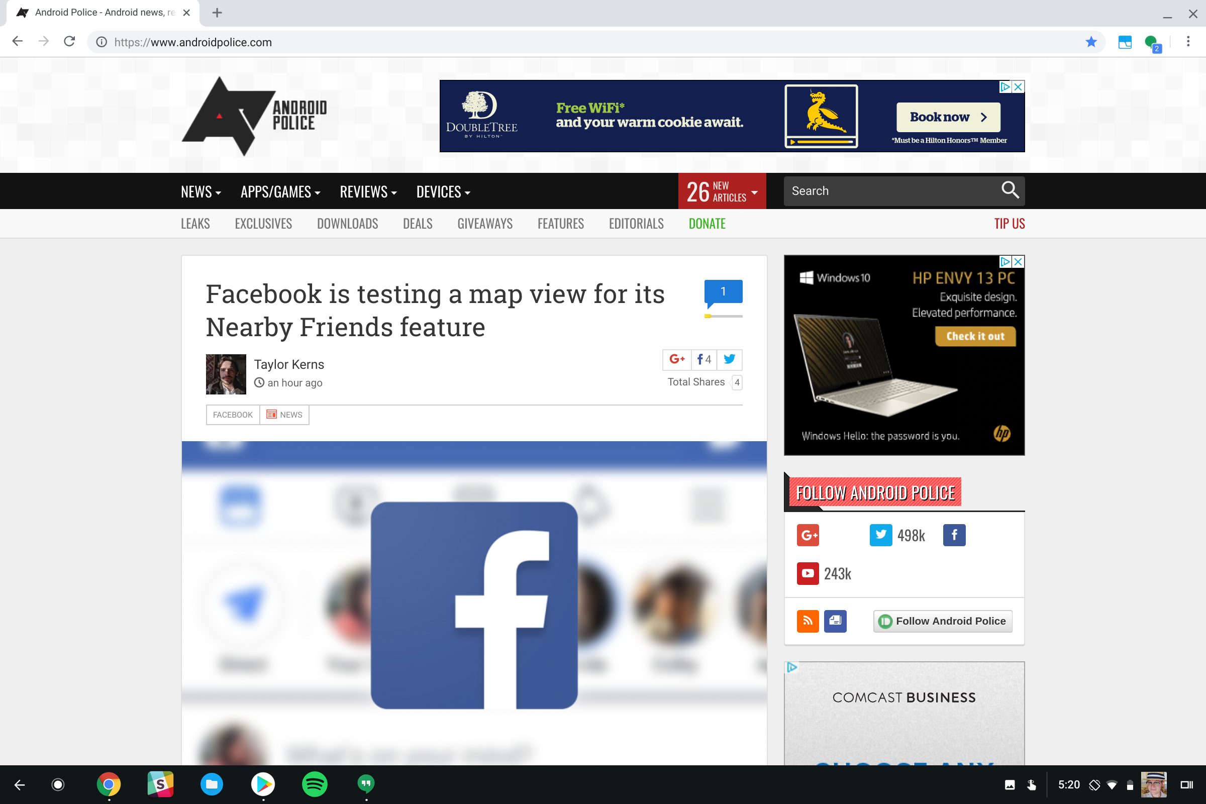 Chrome OS Canary build now hides top browser UI when