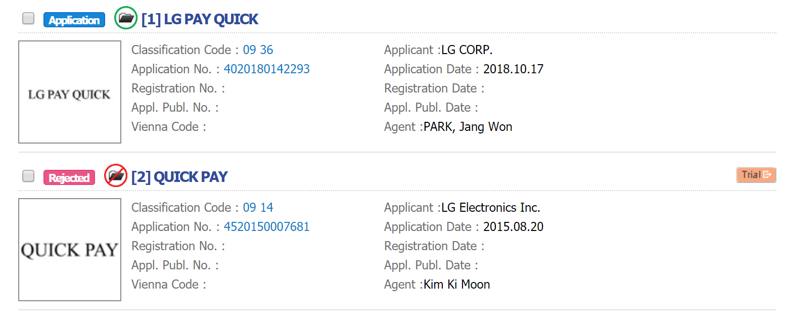LG Pay Quick' trademark application pops up in US and Europe