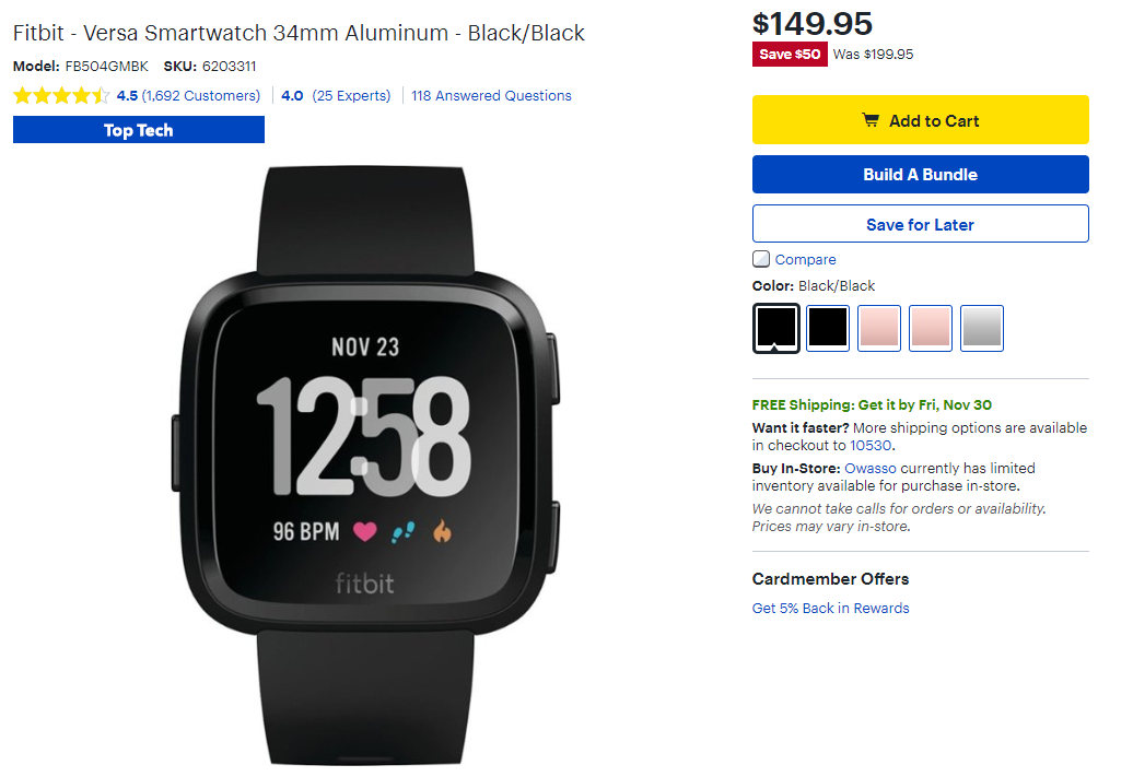 best buy has discounted the fitbit ionic to 200 70 off and the versa to 150 50 off fitbit ionic to 200 70 off