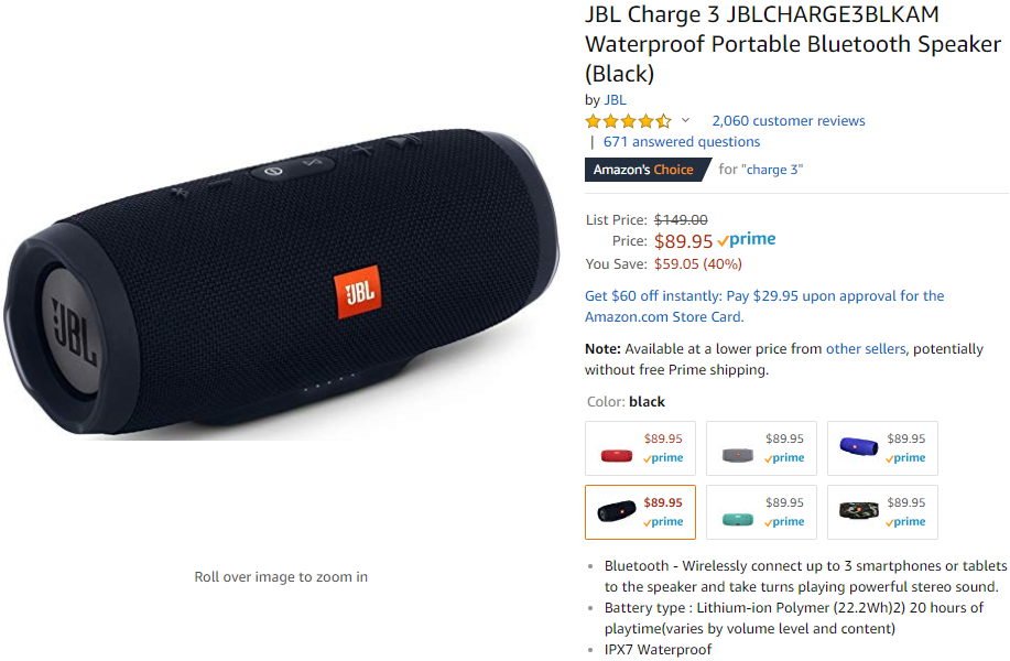 JBL Charge 3 Bluetooth speaker on sale for $90 ($60 off) at