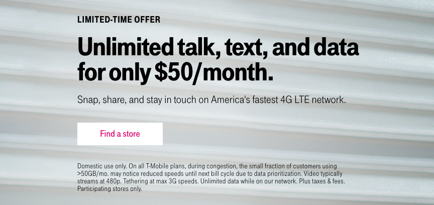 T-Mobile is offering a $50/month unlimited LTE prepaid plan