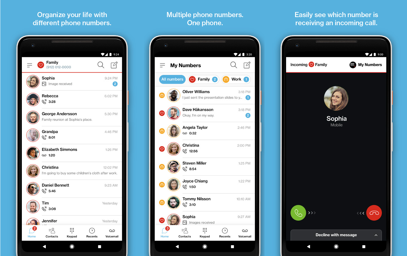Verizon's My Numbers app supports 4 additional phone numbers on one handset