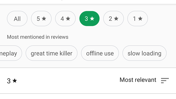 [Update: New top reviews, wider rollout] Google Play Store's redesigned ratings and reviews section lets you easily filter by star rating Google Play Store's redesigned ratings and reviews section lets you easily filter by star rating