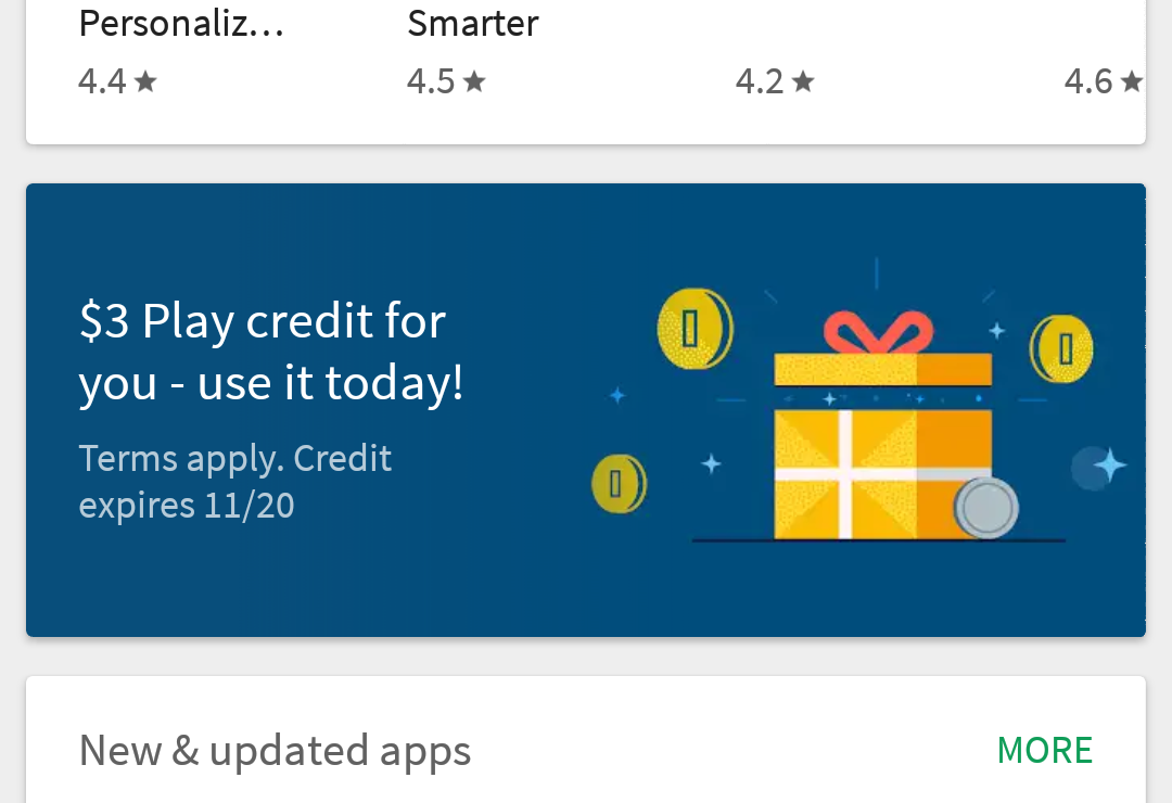 Check your Play Store app—Google is giving away $2-5 credits