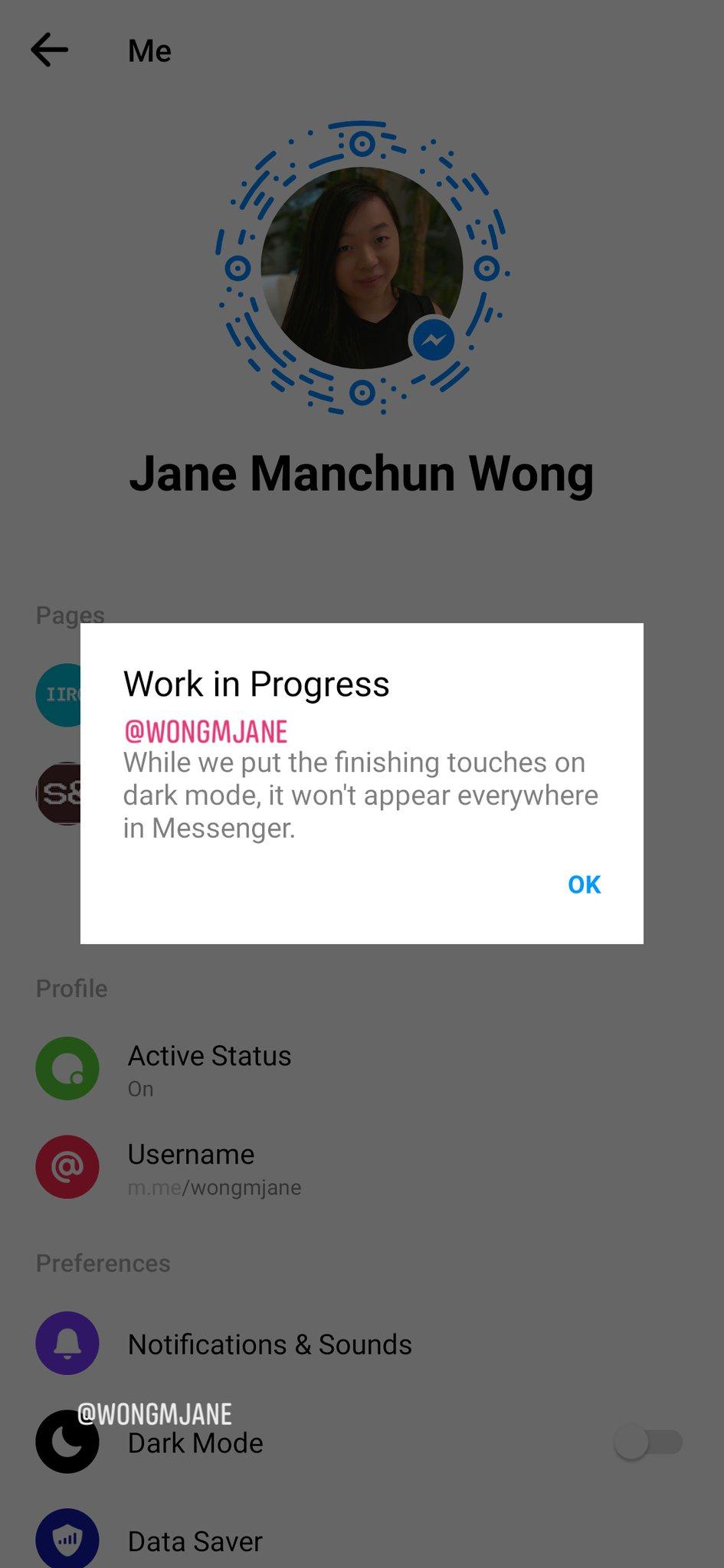 Update: Screenshots] Facebook Messenger is testing dark mode