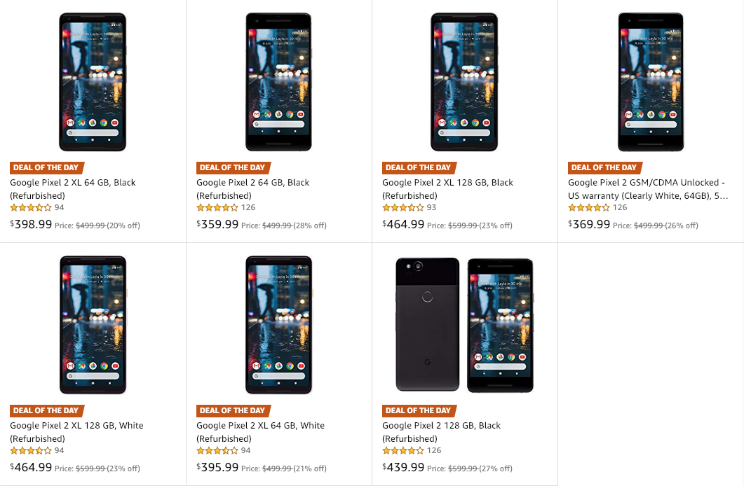 Refurbished Pixel 2 and Pixel 2 XL phones are as low as $360 on