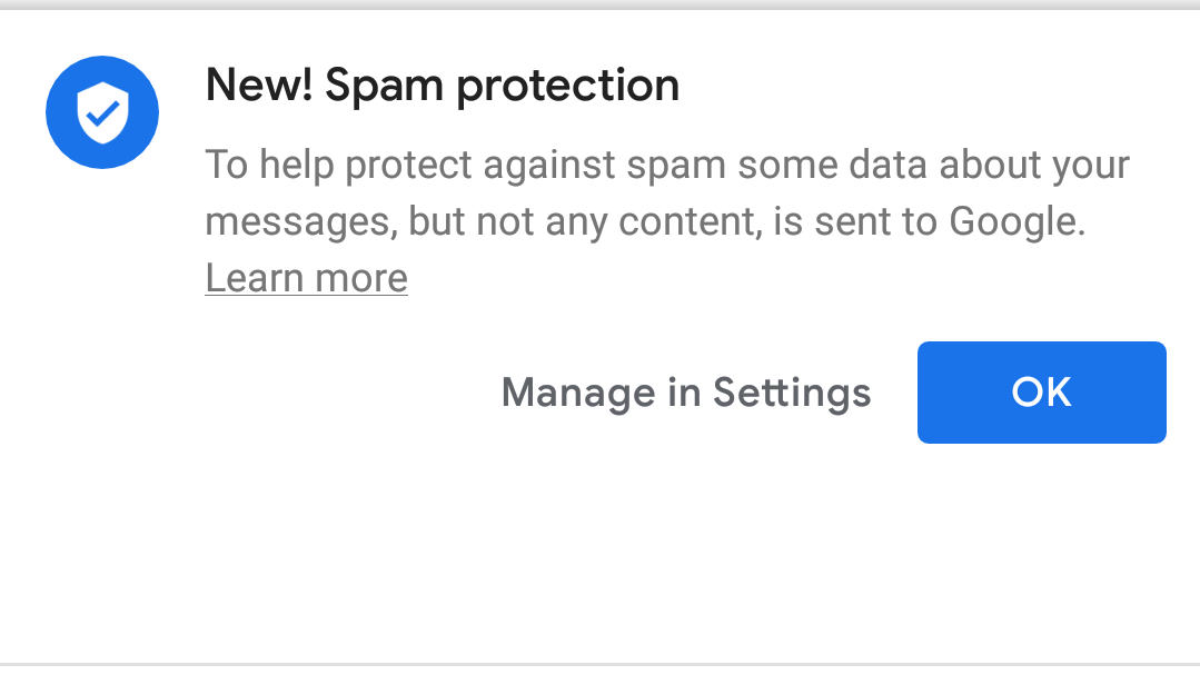 Messages' Spam Protection feature is rolling out for some users