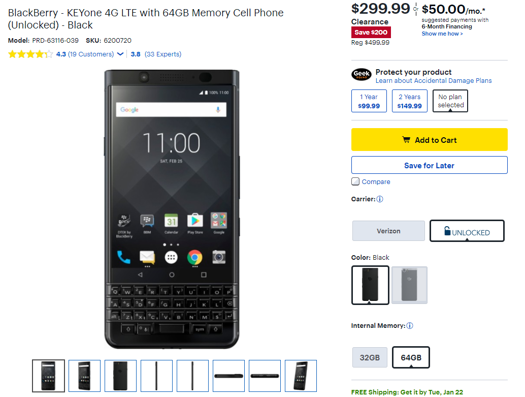 Best Buy has the BlackBerry KEYone on clearance sale for $300 ($200 off)