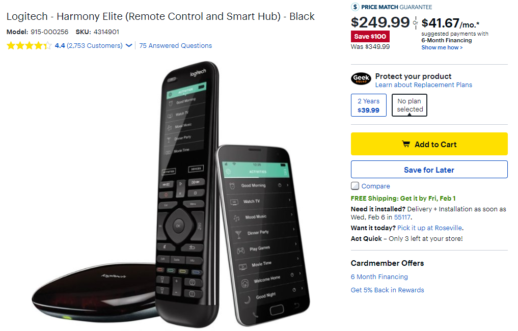 bd06cc64821 We've seen the Harmony Elite dip a little lower ($220) in the past, but  that deal didn't include any extras. This time, the device costs $250, but  Best Buy ...