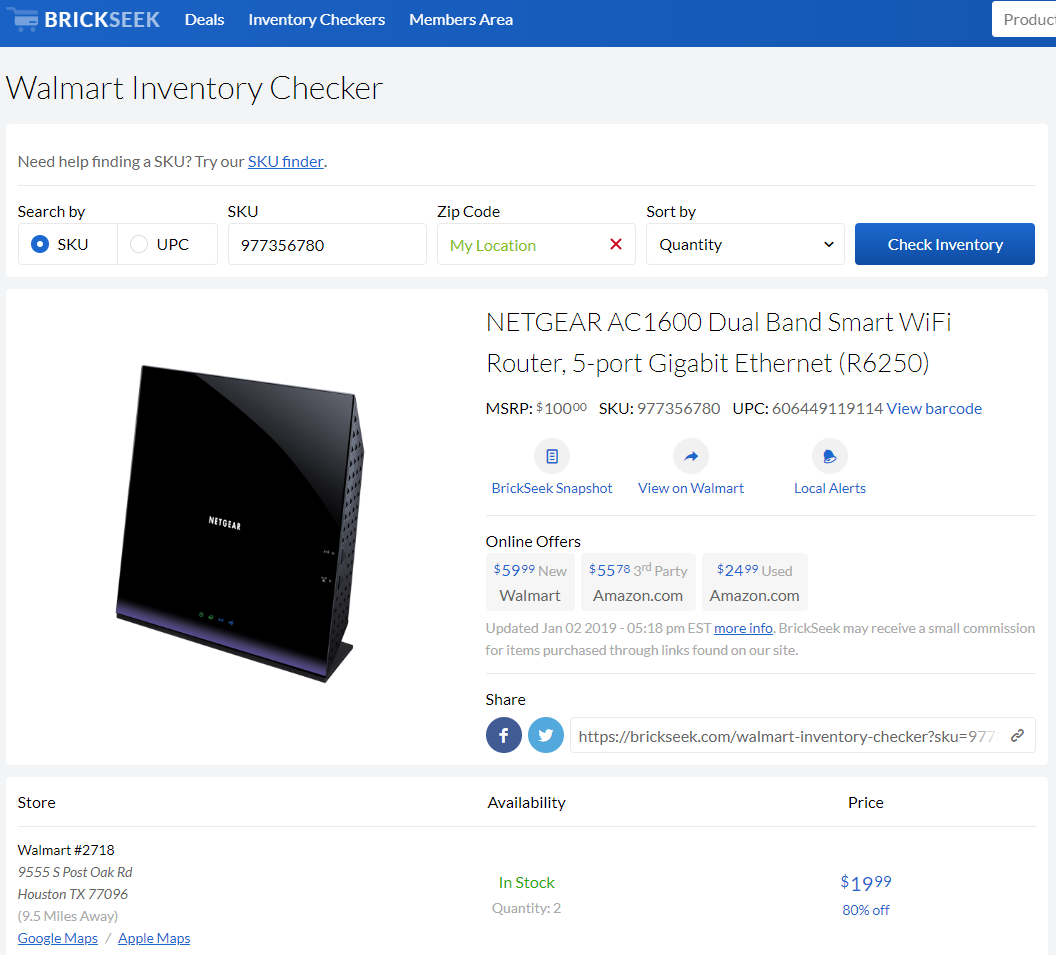 Netgear R6250 Wi-Fi AC router on sale for $20 (down from $60