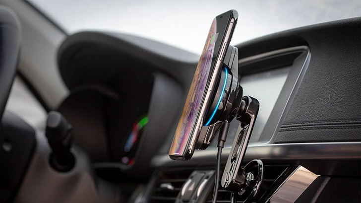 Scosche's new phone car mount is magnetic, won't block air vents, and has wireless charging