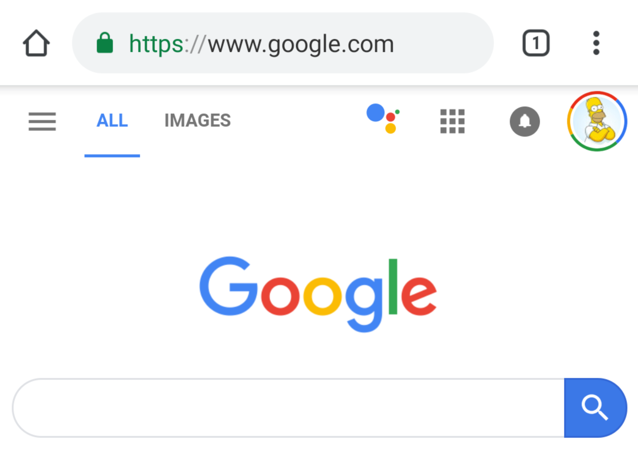 Assistant icon shows up on the Google.com mobile page