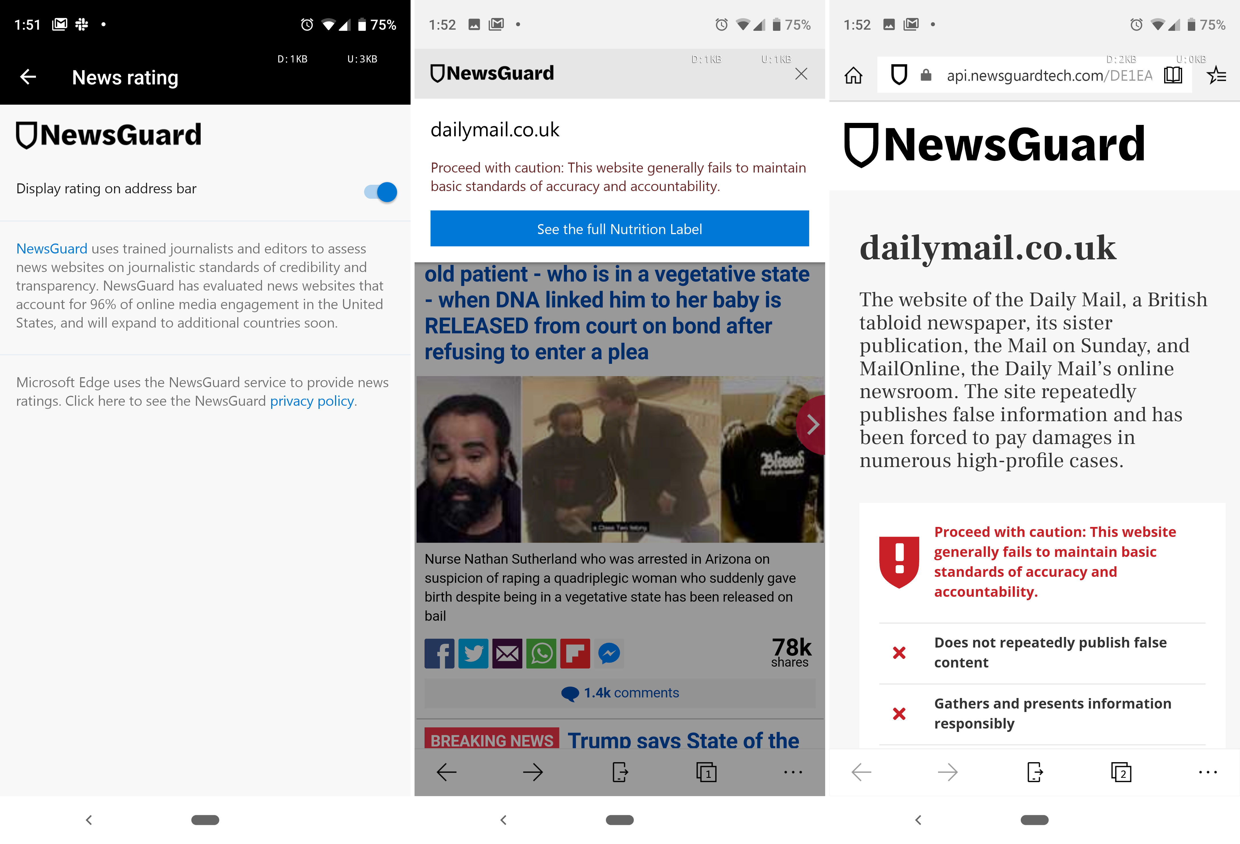 Microsoft Edge now warning users about fake news (since y