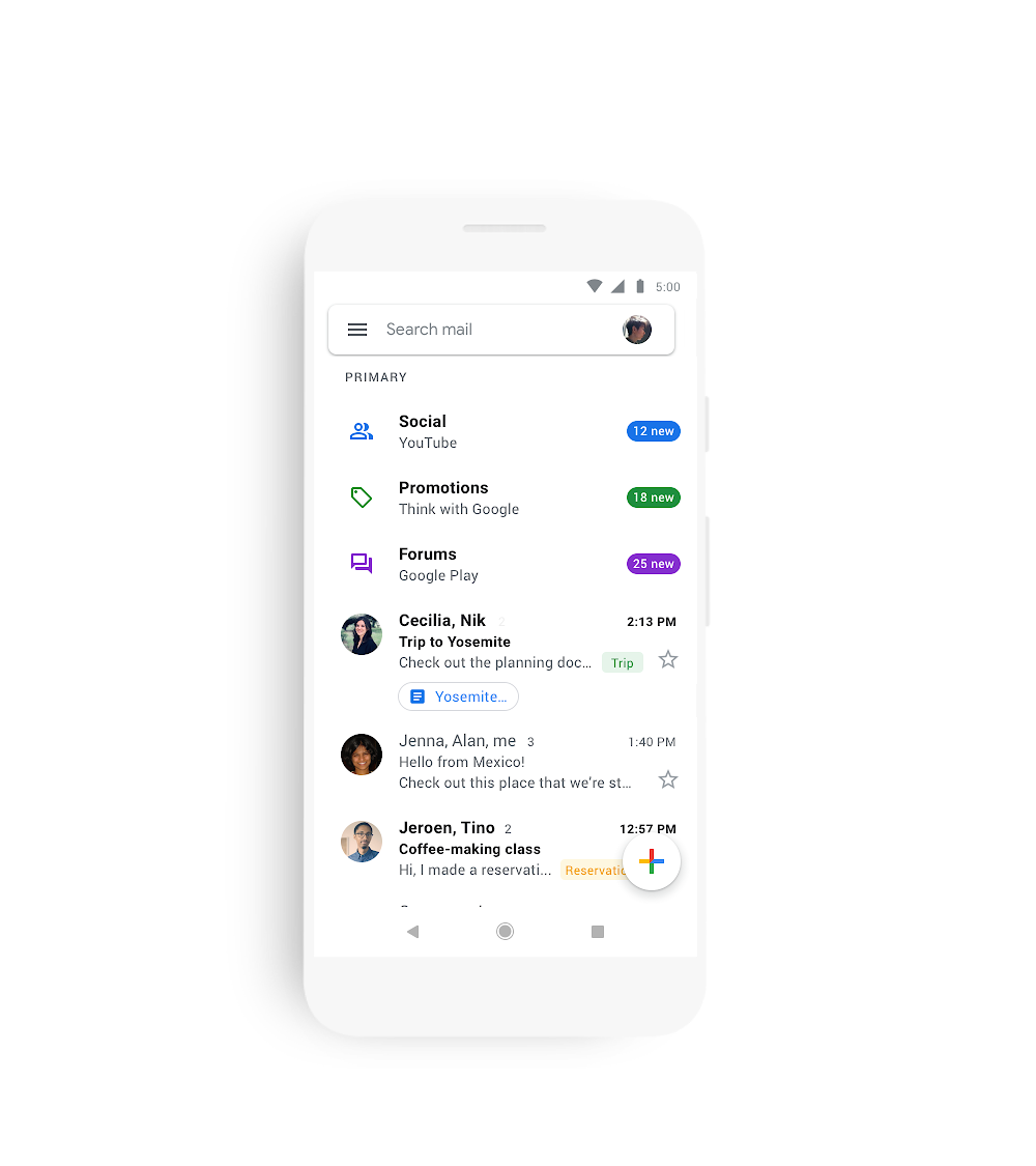 Gmail mobile redesign brings features from web to iOS and Android
