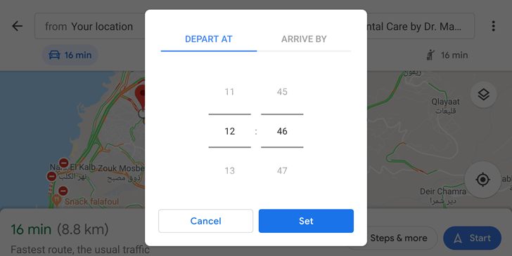 You can finally set a departure time for driving in the Google Maps ...
