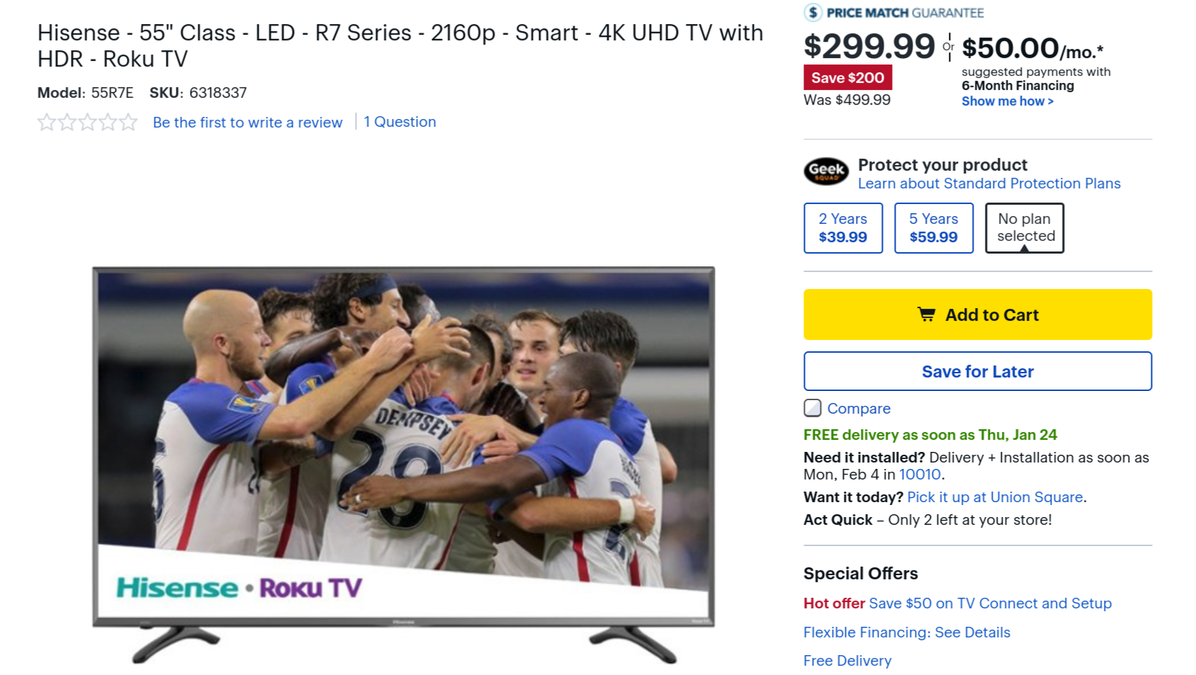 You can get a 55-inch Hisense 4K Roku TV for $300 ($200 off