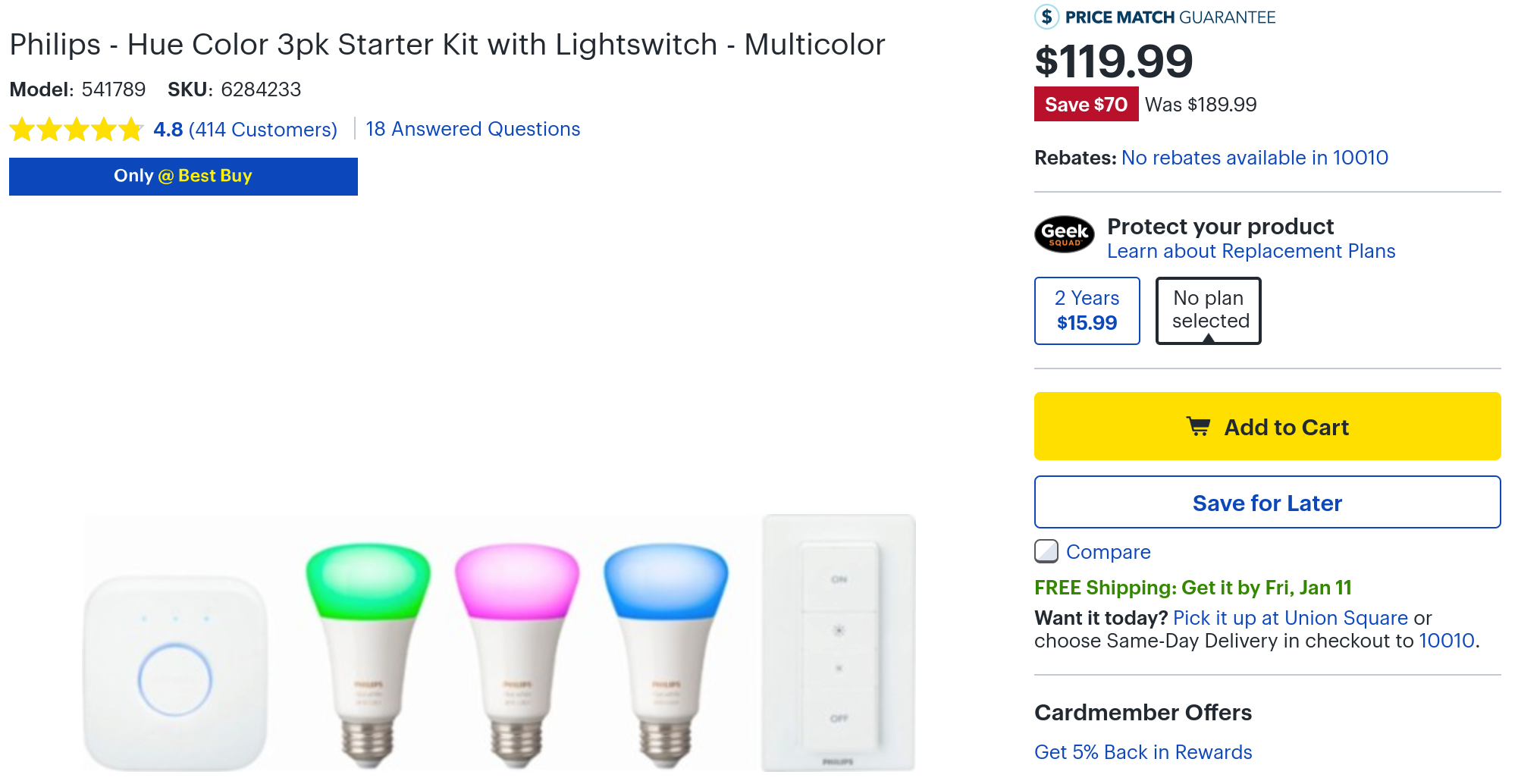 Philips Hue 3-bulb color starter kit is $120 ($70 off) at
