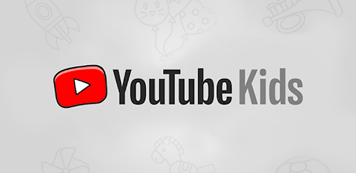 The YouTube Kids logo is displayed against a grey background